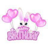 Congratulations on your birthday with pink letters and a sweet little rabbit stock illustration