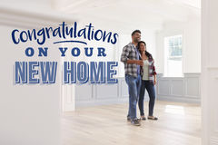 Congratulations On Your New Home. Couple Moving In Royalty Free Stock Images