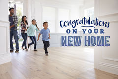 Congratulations On Your New Home. Family Moving In royalty free stock photo