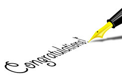 Congratulatons. Person writing congratulations using fountain pen stock illustration