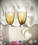 Congratulatory  background with a beige card Royalty Free Stock Images