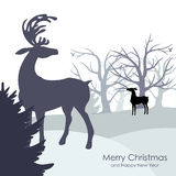 Congratulatory background with winter forest and deer Royalty Free Stock Image