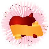 Congratulatory banner with a heart Royalty Free Stock Images