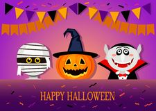 Congratulatory banner or invitation from happy Halloween. Funny characters costumes Dracula, the mummy and the orange pumpkin in a witch hat on a background of vector illustration