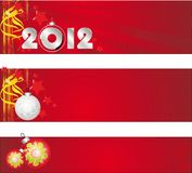 Congratulatory banner on the New Year and Merry Ch Stock Photo