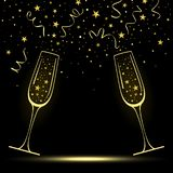 Congratulatory Banner with Stylized Champagne Glasses stock illustration