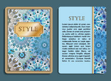 Congratulatory card and invitation card with mandala design. In vintage oriental style. Flyer with abstract eastern design. Front page and back page. Vector art Stock Image