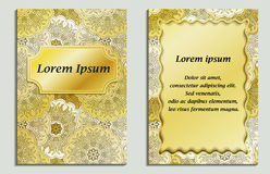 Congratulatory card and invitation card with mandala design in vintage oriental style.. Golden shiny flyer with abstract eastern design. Front page and back Royalty Free Stock Photo
