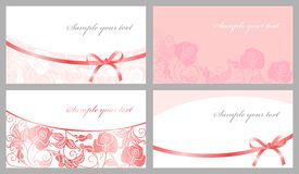 Congratulatory cards. In pink tones Stock Images