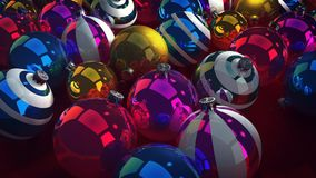 Happy New Year Baubles. A congratulatory 3d illustration of shining glass balls for Christmas fir trees. They lie together in a heap and look fabulous. They are Royalty Free Stock Photo