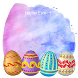 Congratulatory Easter background with eggs Royalty Free Stock Photos