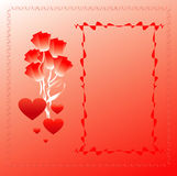 Congratulatory frame. With flower and hearts Royalty Free Stock Photos