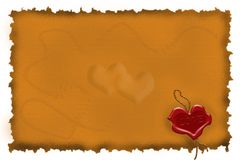 Congratulatory heart. In the form of the sealing wax press against old parchment Stock Image