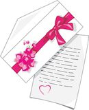 Congratulatory letter to Valentines Day. Illustration Royalty Free Stock Photos