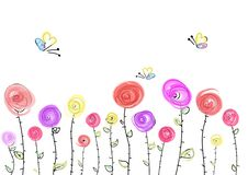Greeting card with bright flowers and butterflies vector illustration