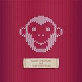 Congratulazione di festa - Buon Natale e buon anno Vector la scimmia bianca del jersey - un simbolo di 2016 anni illustrazione di stock