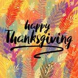 Congratulazione felice di giorno di ringraziamento sul fondo d'avanguardia multicolore di autunno con le foglie di autunno Grande Immagini Stock Libere da Diritti