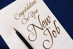 Congratulazione sull'individuazione del job nuovo Fotografia Stock Libera da Diritti