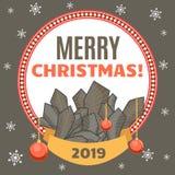 Congratulazione sulla festa nel telaio decorativo rotondo grigio con i rami, le palle ed il nastro di albero del nuovo anno Immagine Stock Libera da Diritti