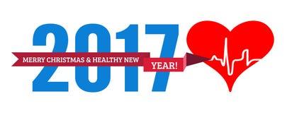 Congratulazioni al nuovo anno in buona salute con un cuore e un cardiogramma Illustrazione di vettore Fotografia Stock