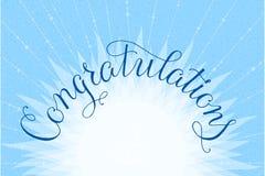 Congratulazioni che segnano la mano con lettere dell'illustrazione Fotografia Stock Libera da Diritti