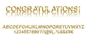 Congratulazioni Fonti alfabetiche dell'oro Immagine Stock
