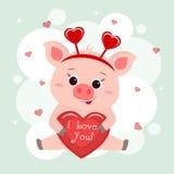 Congratulazioni il giorno del biglietto di S. Valentino s Un maiale sveglio in un'incastonatura con un cuore si siede e tiene nel illustrazione vettoriale