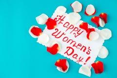 Congratulazioni l'8 marzo Concetto del giorno felice del ` s delle donne piano Immagini Stock Libere da Diritti
