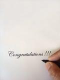 Congratulazioni scritte fotografia stock