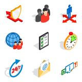 Congregation icons set, isometric style. Congregation icons set. Isometric set of 9 congregation vector icons for web isolated on white background Stock Image