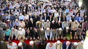 The congregation prayed Muslims stock footage