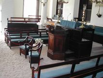 Synagogue Hebrew Congregation Of St. Thomas. Congregation Of St. Thomas in the Caribbean inside the Synagogue Stock Images