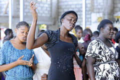 Congregation Worshipping in Haitian Church Royalty Free Stock Photo