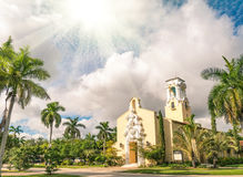 Congregational Church of Coral Gables in Miami. Concept of religious illumination from the sky stock photo