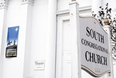 Congregational church welcoming immigrants and refugees. Sign on South Congregational church welcoming immigrants and refugees, Pittsfield Massachusetts royalty free stock photo