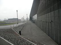 Congres center in Poland view with black rocks. Congres center in Katowice Poland,black steel elevation with black rocks stock image