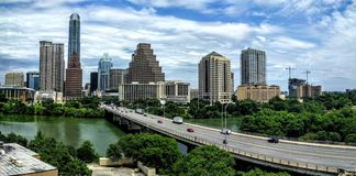 Congress bridge in downtown Austin TX Stock Images