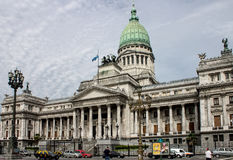 Congress Building Buenos Aires Argentina. The facade of the Congress Building with its copper dome, columns and statues, Buenos Aires downtown, Argentina Royalty Free Stock Images