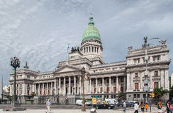 Congress Building Buenos Aires Argentina. The facade of the Congress Building with its copper dome, columns and statues, Buenos Aires downtown, Argentina Royalty Free Stock Photography
