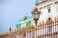 Congress Center golden fence and architecture detail in Vienna Stock Photos
