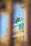 Congress Center golden fence and architecture detail in Vienna Stock Photography