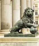 El The lion of the congress of deputies in Madrid, Spain royalty free stock image