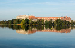 The Congress Hall reflected in still lake in Nuremberg Stock Image