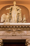 Congress Library Statue Justice Washington. A marble statue of a woman the eagle and a snake, Congress Library in Washington, District of Columbia, United States royalty free stock photography