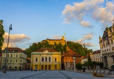 Congress square of Ljubljana. Congress square with the evening sunlight of Ljubljana city, capital of Slovenia stock photos