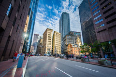 Congress Street and skyscrapers in Boston, Massachusetts. Royalty Free Stock Photos