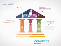 Congress. Vector congress infographics illustration made out of puzzle pieces vector illustration