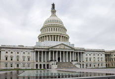 Congress Washington. The Washington Congress building with its enormous dome and the facade with corinthian columns and statues Royalty Free Stock Image