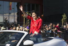 Congressista Judy Chew, 115th Dragon Parade dorato, nuovo anno cinese, 2014, anno del cavallo, Los Angeles, California, U.S.A. Fotografia Stock Libera da Diritti