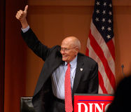 Congressman John Dingell thumbs up. ANN ARBOR, MI - OCTOBER 24: Congressman John Dingell of Michigan gives a thumbs up sign at a get out the vote rally in Ann Royalty Free Stock Image